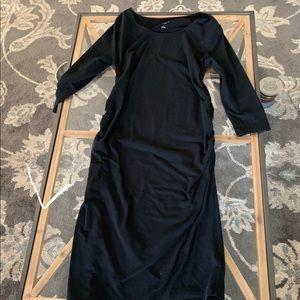Black midi maternity dress